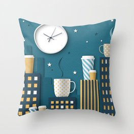 Coffee Night Throw Pillow