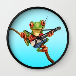 Tree Frog Playing Acoustic Guitar with Flag of The Netherlands Wall Clock