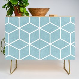 Light Blue and White - Geometric Textured Cube Design Credenza