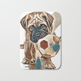 little puppy bullmastiff played in the house. square shape pictures        - Image Bath Mat