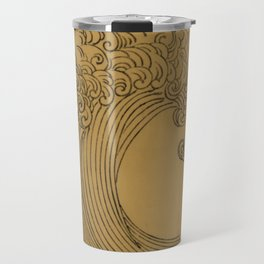 Vintage Golden Wave Travel Mug