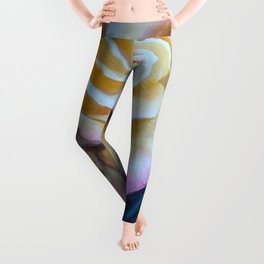 Pink and Yellow Rose painting Leggings