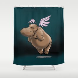 Giving Hippos Wings Shower Curtain