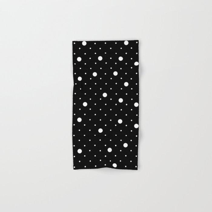 Pin Point Polka Dots White on Black Hand & Bath Towel