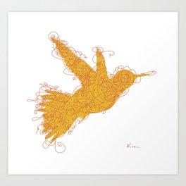 Bird Fly No. 1  (orange) Art Print