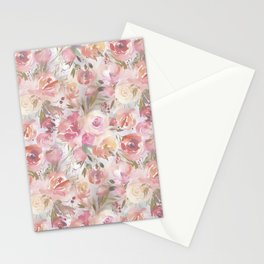 Bouquets of Flowers in Soft Hues of Pastel Pink and Cream Stationery Cards