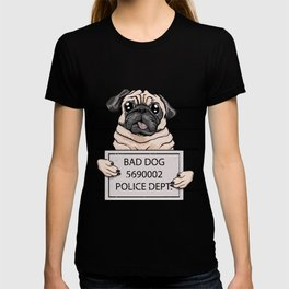 mugshot dog cartoon. T-shirt