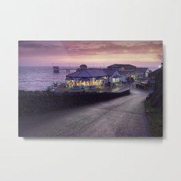 Mumbles Pier and Beach Hut Cafe Metal Print