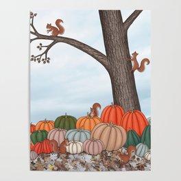 heirloom pumpkins, squirrels, & the oak tree Poster
