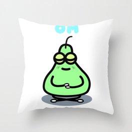 Meditating Pear Throw Pillow