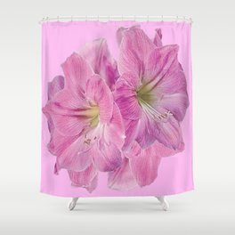 PINK TROPICAL  AMARYLLIS GARDEN FLORAL ON PINK ART Shower Curtain