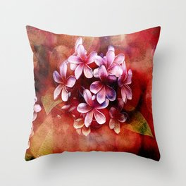 Watercolor Pulmaria Bouquet - Reds Throw Pillow