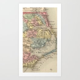 Vintage Map of The Outer Banks (1859) Art Print