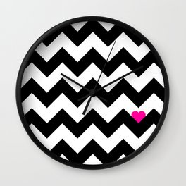 Heart & Chevron - Black/Pink Wall Clock
