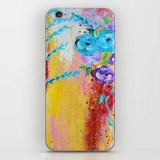 MORE IS MORE - Gorgeous Floral Abstract Acrylic Bouquet Colorful Ikat Roses Summer Flowers Painting iPhone & iPod Skin