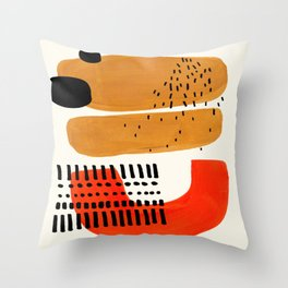 Mid Century Modern Abstract Minimalist Retro Vintage Style Fun Playful Ochre Yellow Ochre Orange Sha Throw Pillow