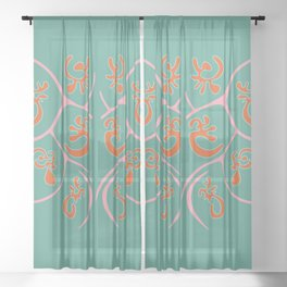 Green and Curvy Sheer Curtain