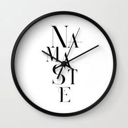 Namaste Greeting Word Black And White Wall Clock