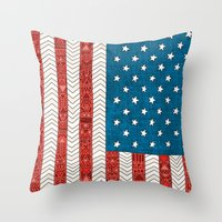 novelty Throw Pillows featuring USA by Bianca Green