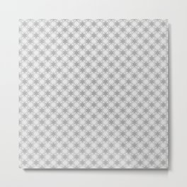 Gray and White Snowflake Pattern Metal Print