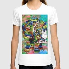 Rainbow Rhino Green Background T-shirt
