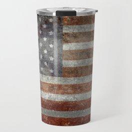 USA flag - Old Glory in dark grunge Travel Mug