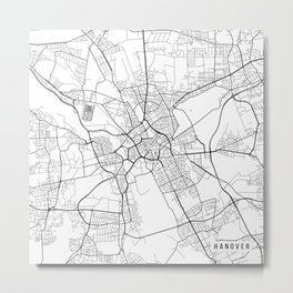 Hanover Map, Germany - Black and White Metal Print