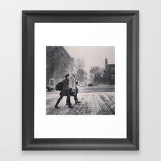 Snowy Walk Framed Art Print