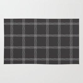 Wavy Plaid Pattern Bla and Grey Mandala Tile Rug