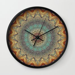 Indian Bohemian Flower Mandala Pattern, Gold Teal and Blue Wall Clock
