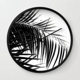 Palm Leaves Black & White Vibes #3 #tropical #decor #art #society6 Wall Clock