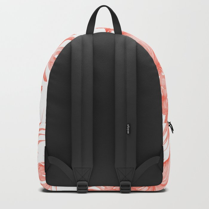 Tropical Palm Leaves Hibiscus Flowers Deep Coral Backpack
