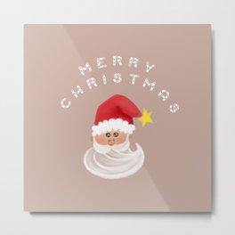 Merry Christmas & Santa - Beige Metal Print