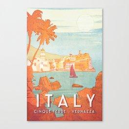 Italy, Cinque Terre Vintage Travel Poster Canvas Print