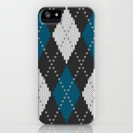 Argyle knit winter sweater pattern blue iPhone Case
