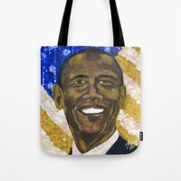 obama Tote Bags featuring Obama by Stan Kwong