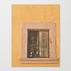 Beer in window in Mexico Canvas Print