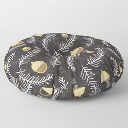 Holiday Floral Acorn Charcoal #Holiday #Christmas Floor Pillow