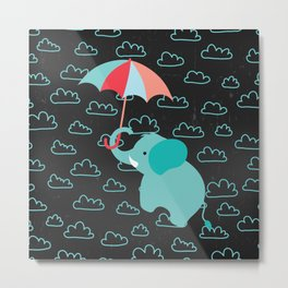 Elephant with umbrella on Black Chalkboard Metal Print