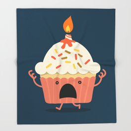 Cupcake on fire Throw Blanket