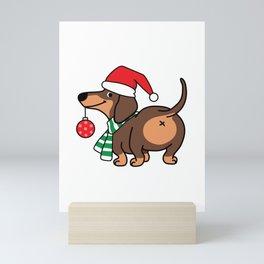 Cute Christmast Dachshund Dog With Santa Hat Mini Art Print