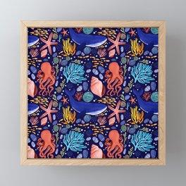 Into the Ocean - Pattern block Framed Mini Art Print