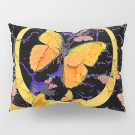 BLACK & YELLOW BUTTERFLIES VIGNETTE ABSTRACT ART Pillow Sham