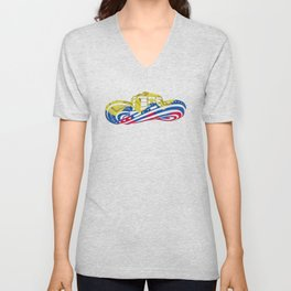 Colombian Sombrero Vueltiao in Colombian Flag Colors Unisex V-Neck
