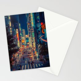 In the Distance/ Japan Night Photo Stationery Cards