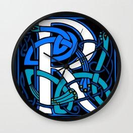 Celtic Peacocks Letter R Wall Clock