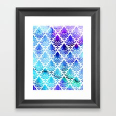 Damask in Cool Purple Framed Art Print