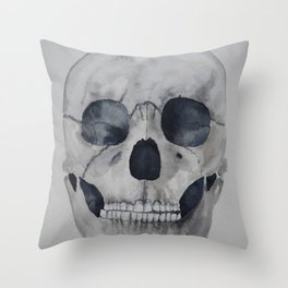 Human skull watercolour Throw Pillow
