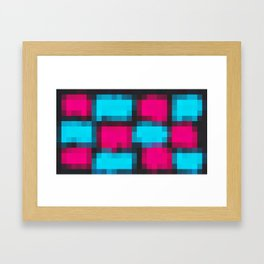 blue pink and black pixel abstract Framed Art Print
