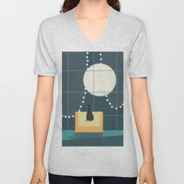 Cat and the Moon Unisex V-Neck
